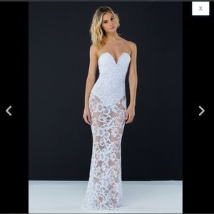 Strapless Plunge Sheer Floral Lace Mermaid Dress S